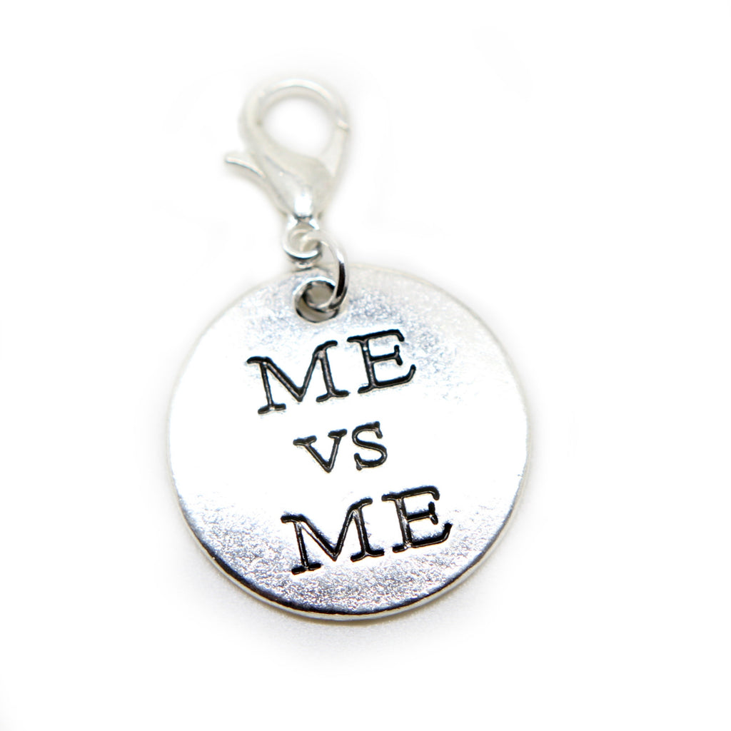 ME vs ME words quote Silver tone clip on  charm pendant  bead - Pendants and Charms