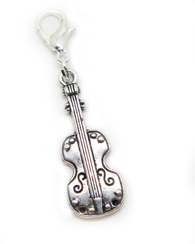 Violin Music instrument Silver tone clip on  charm pendant  bead - Pendants and Charms