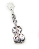 Violin Music instrument Silver tone clip on  charm pendant  bead