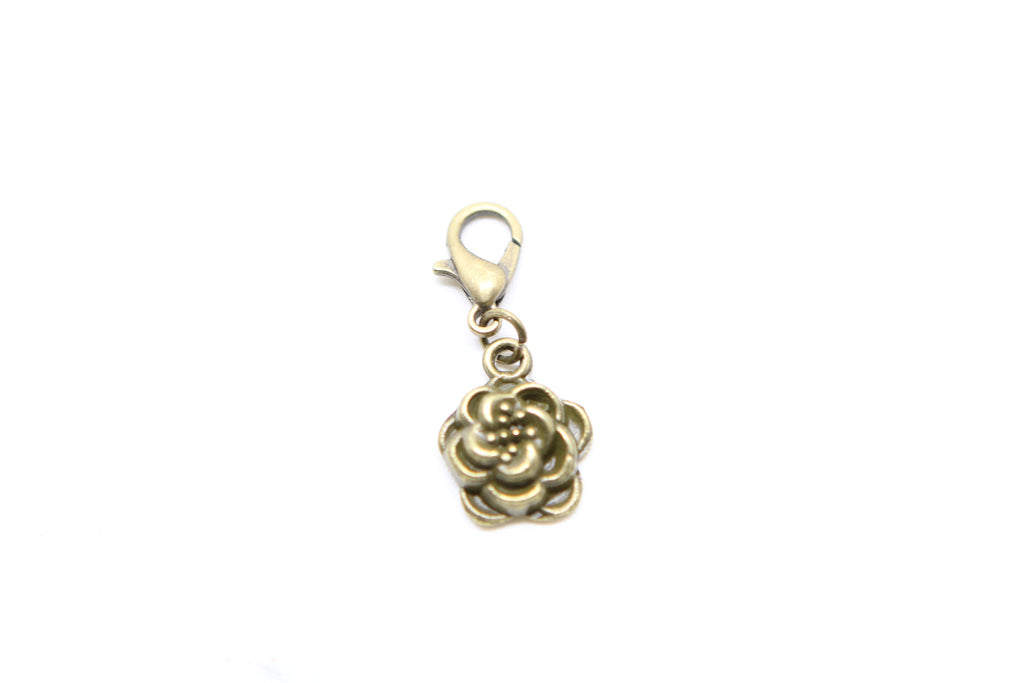Rose Flower Bronze Charm Clip on Bead for Charm Bracelets Charms necklace floating charms - Pendants and Charms