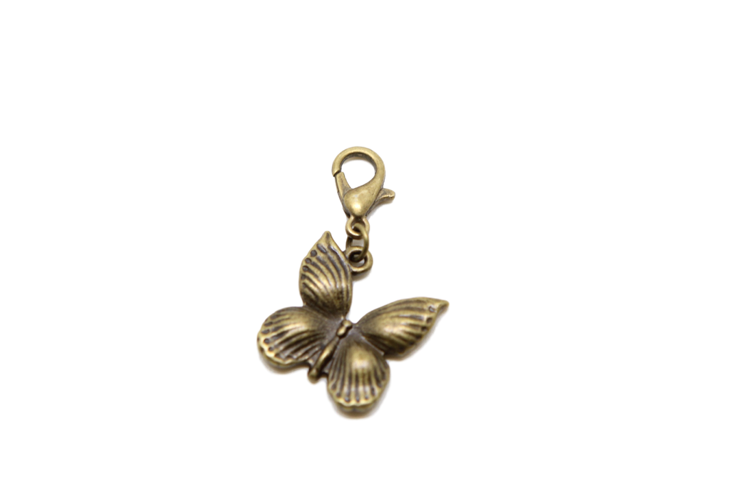 Butterfly Bronze Charm Clip on Bead for Charm Bracelets Charms necklace floating charms - Pendants and Charms
