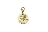 Never Give Up Bronze Charm Clip on Bead for Charm Bracelets Charms necklace floating charms - Pendants and Charms