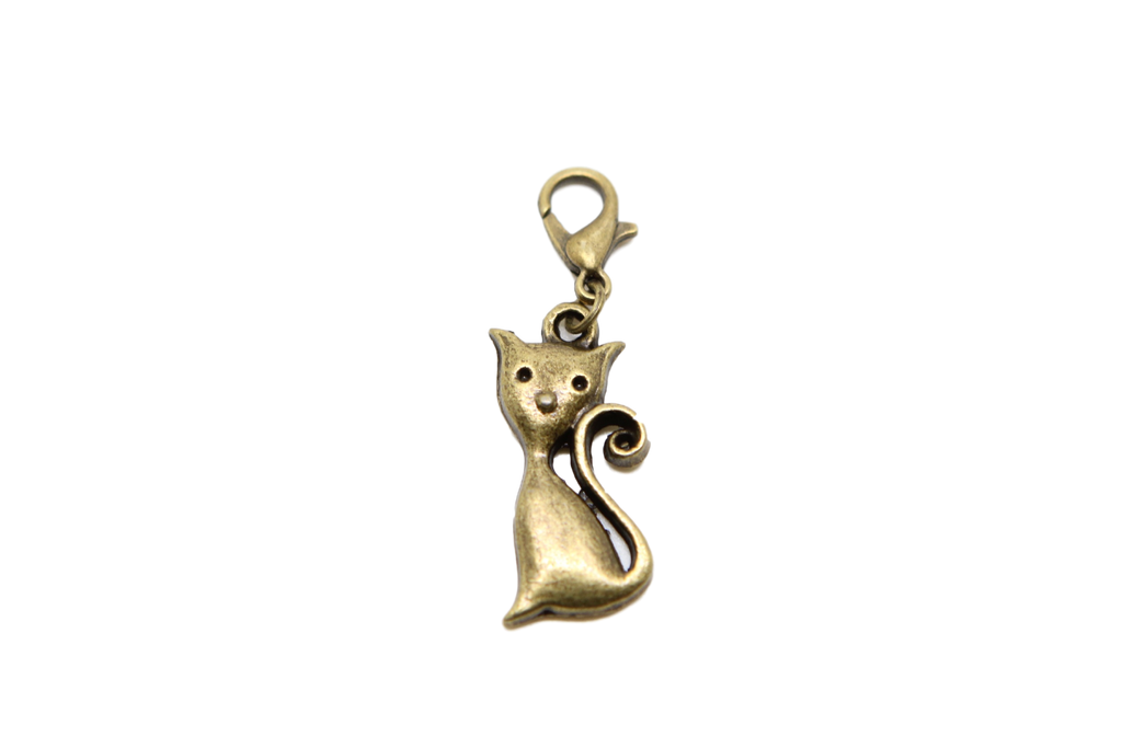 Cat Bronze Charm Clip on Bead for Charm Bracelets Charms necklace floating charms - Pendants and Charms