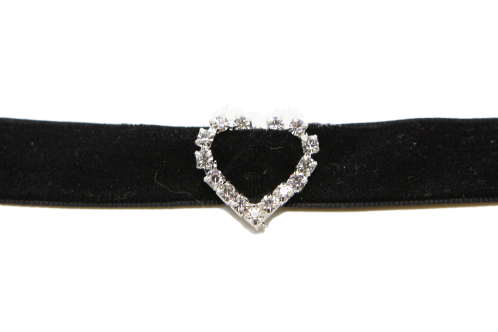 Velvet choker necklace Gothic Black  Classic Choker Necklace with Rhinestone Heart - Pendants and Charms