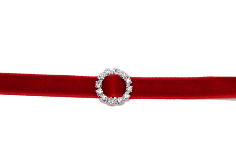 Velvet choker necklace Gothic Red Classic Choker Necklace with Rhinestone Circle - Pendants and Charms