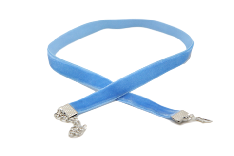 Blue 10mm Velvet ribbon choker plain Choker Necklace 3 sizes !!! - Pendants and Charms