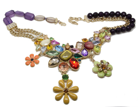 Bright Bold Colours  flower Statement Necklace - Pendants and Charms