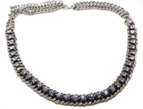 White Rhinestone  silver chain Choker Necklace - Pendants and Charms
