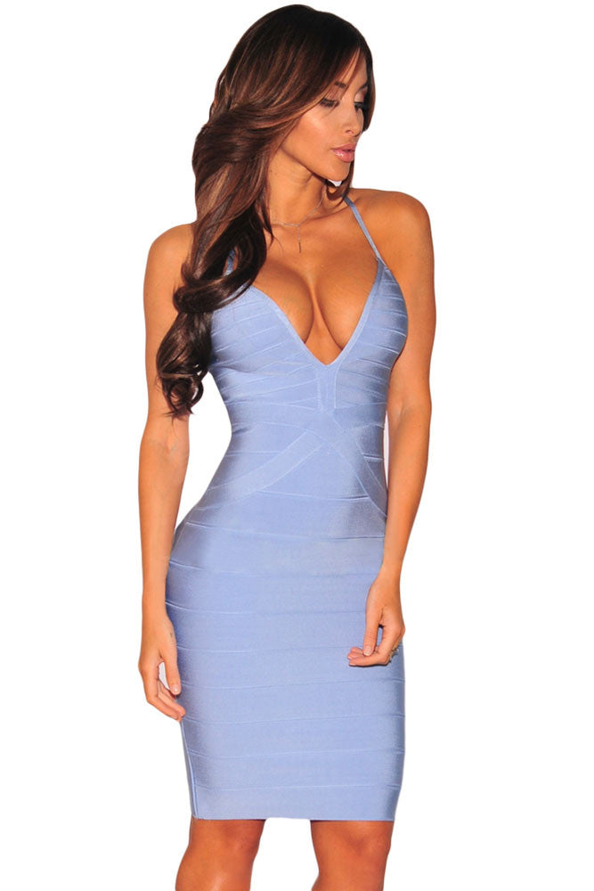 Ice Blue Strappy Plunging Sleeveless Bodycon Bandage Dress - Pendants and Charms