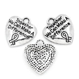 Charm Pendants together we can make difference Letters Carved Silver - Pendants and Charms