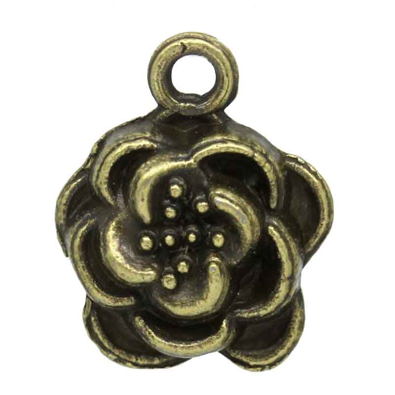Charm Pendants Flower Bronze Tone 15mmx12mm - Pendants and Charms