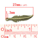 Charm Pendants Feather Bronze Tone 27mmx6mm - Pendants and Charms