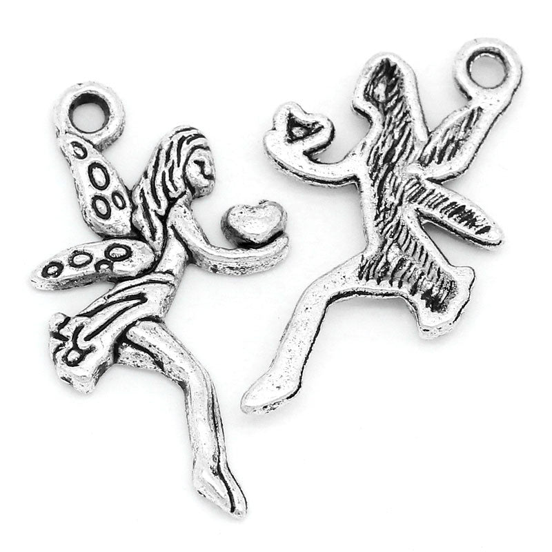 Charm Pendants Angel Silver Tone 24mmx13mm - Pendants and Charms