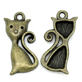 Charm Pendants Cat Bronze Tone 25mmx12mm - Pendants and Charms