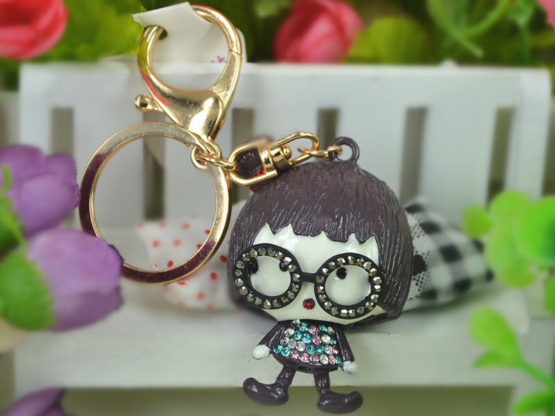 KC080 Girl Glasses Keyring Swarovski Crystal Charm Pendant Key Bag Chain Gift - Pendants and Charms