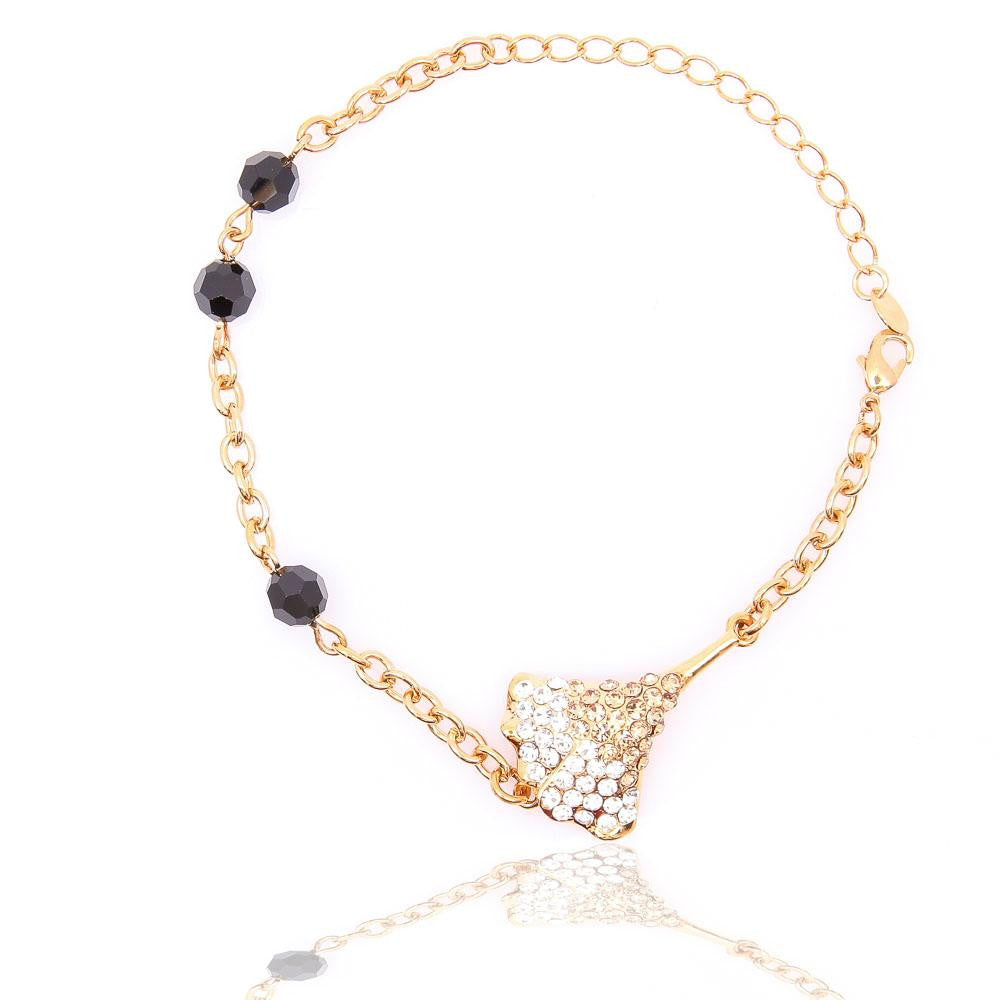 LOVELY GOLD PLATED CLEAR BLACK CRYSTAL BRACELET 480203 - Pendants and Charms
