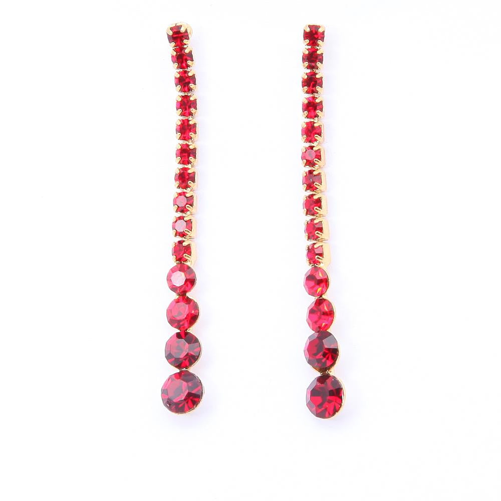 LOVELY GOLD PLATED RED CRYSTAL DANGLING LONG EARRINGS - Pendants and Charms