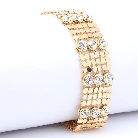 LUXURY GOLD PLATED CLEAR CRYSTAL BRACELET 080621 - Pendants and Charms