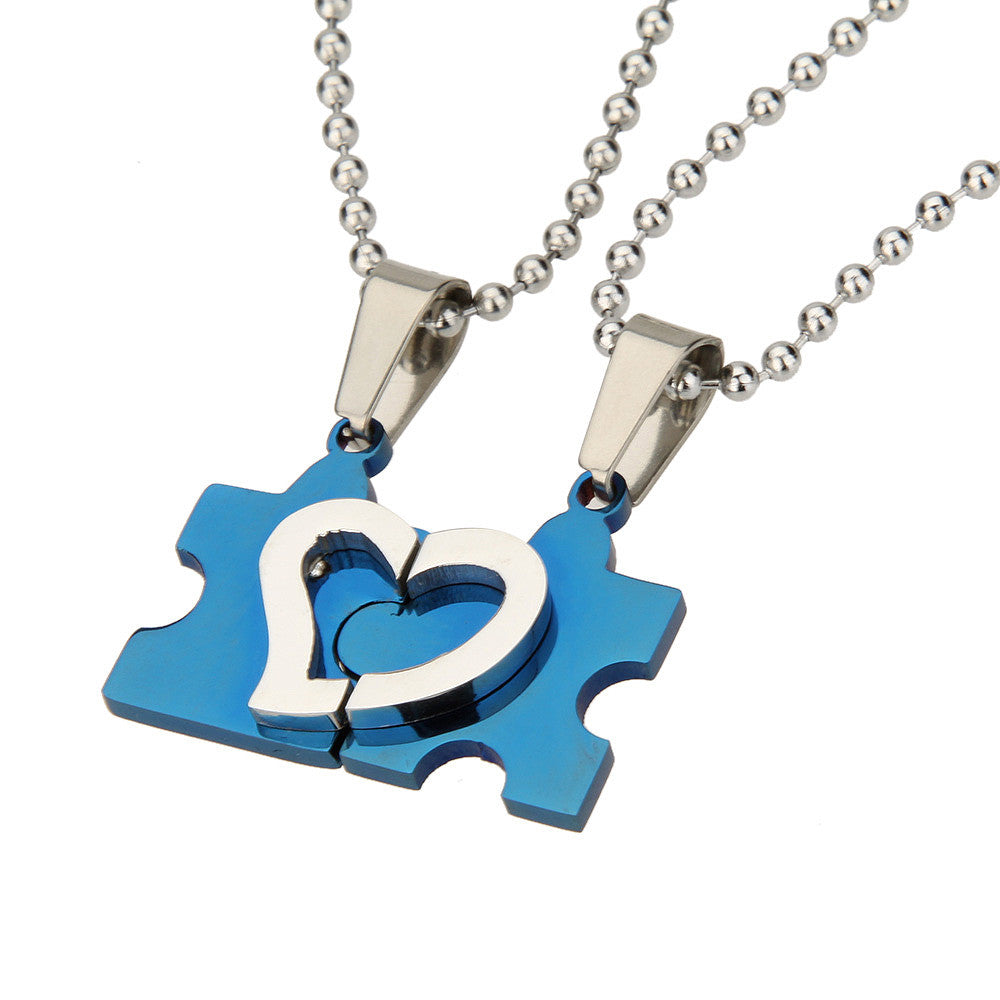 Men Women Stainless Steel Gift Couple Love Heart Puzzle Friendship Pendant Necklace - Pendants and Charms