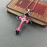 Mens Womens Hot new Pink  Stainless Steel Cross crucifix pendant Necklace P035 - Pendants and Charms