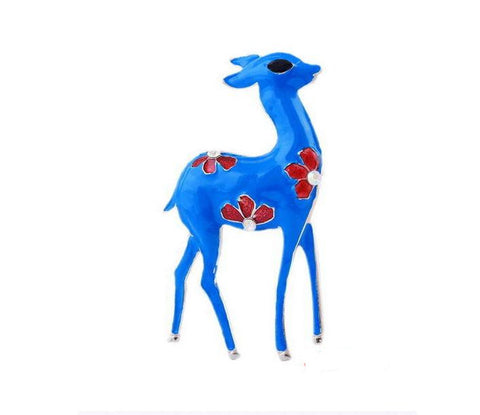Blue Deer animal Enamel Rhinestone Crystal Brooch Pin - Pendants and Charms