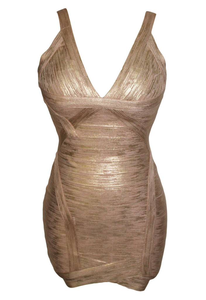 Metallic Gold Foilf Print V-neck Backless Bodycon Bandage Dress - Pendants and Charms