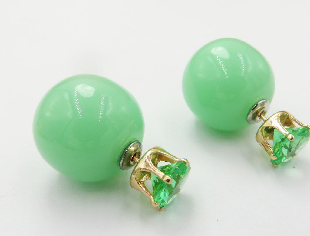 Candy Cute Sweet Charm Crystal Double Side Pearl Beads Stud Earrings - Pendants and Charms
