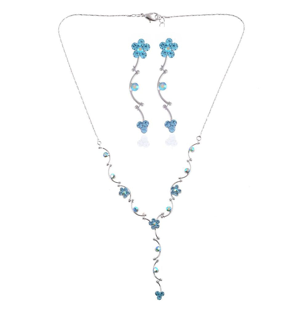 Floral Collection Blue Crystal Daisy necklace and earrings set - Pendants and Charms