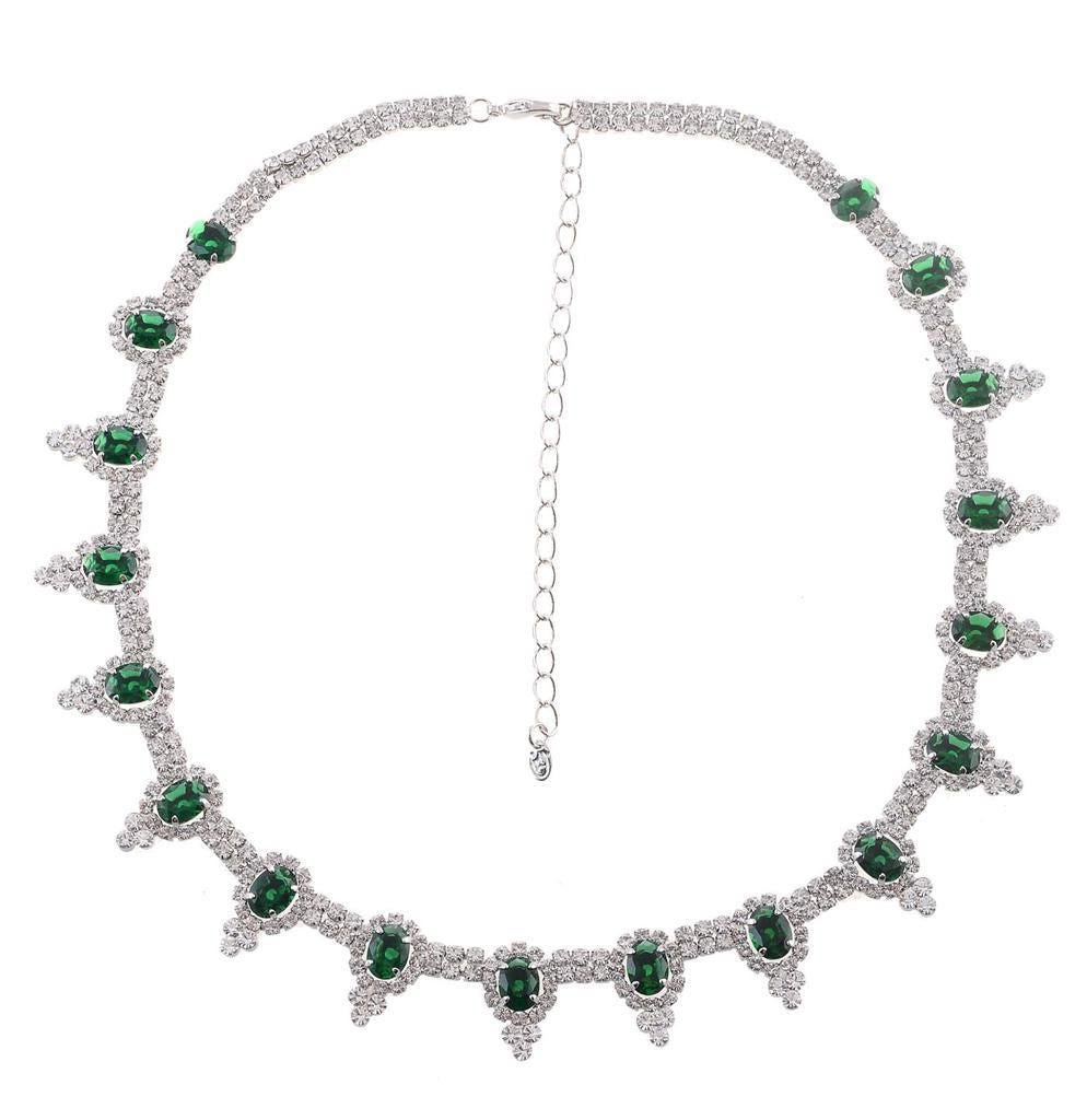 Silver tone green and clear rhinestone crystal necklace