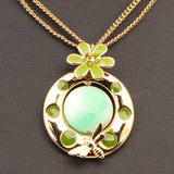 FLORAL COLLECTION GOLD TONE GREEN  NECKLACE - Pendants and Charms