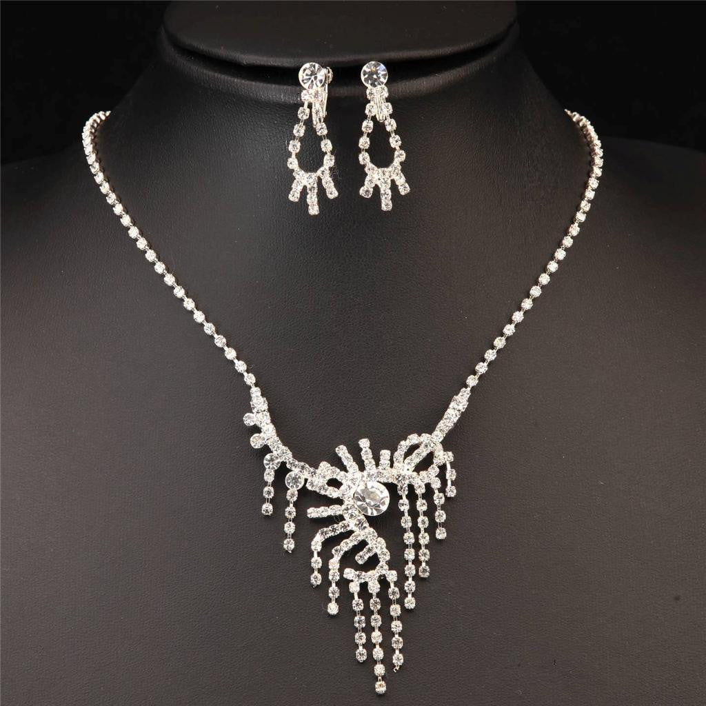 SILVER PLATED CLEAR CRYSTAL DANGLING NECKLACE EARRINGS SET 330204 - Pendants and Charms