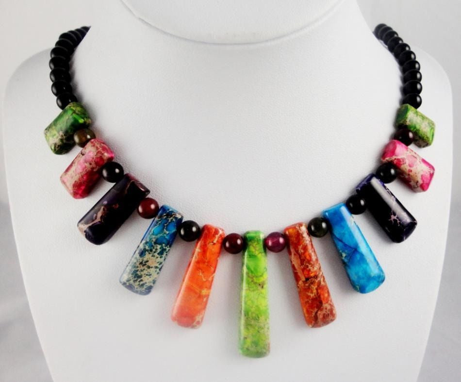 Natural SEDIMENT JASPER &agate Handmade Gemstone Jewellery Necklace PR_4 - Pendants and Charms