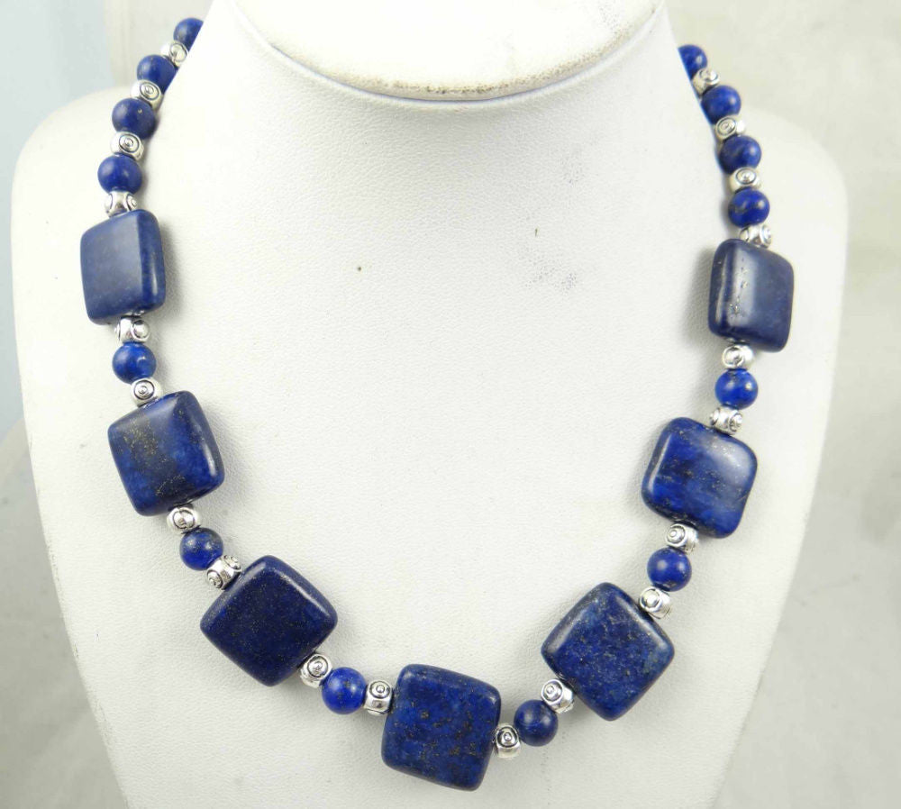 Blue Natural Lapis Lazuli SEDIMENT JASPER Handmade Gemstone Jewellery Necklace - Pendants and Charms
