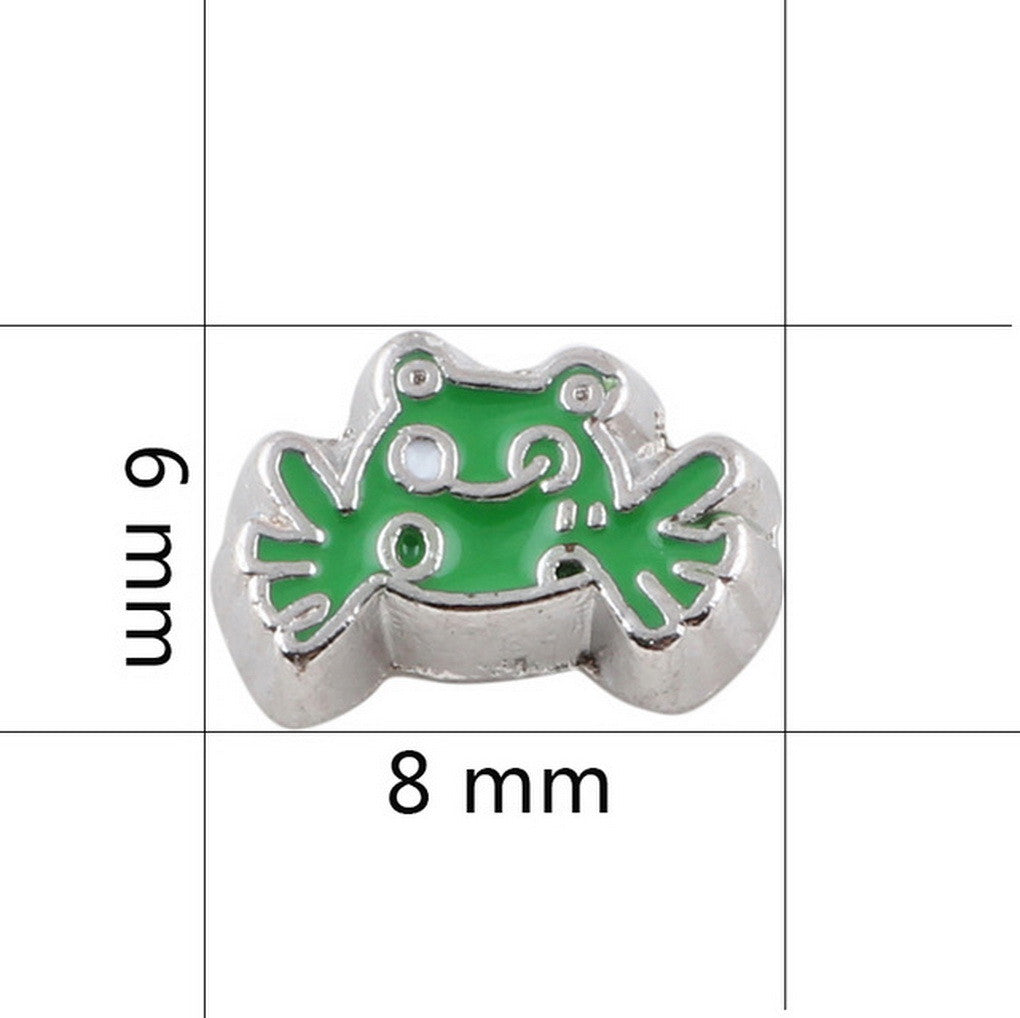 Floating charms Green Frog and 5 Birthstones locket Charm Bracelets necklace - Pendants and Charms