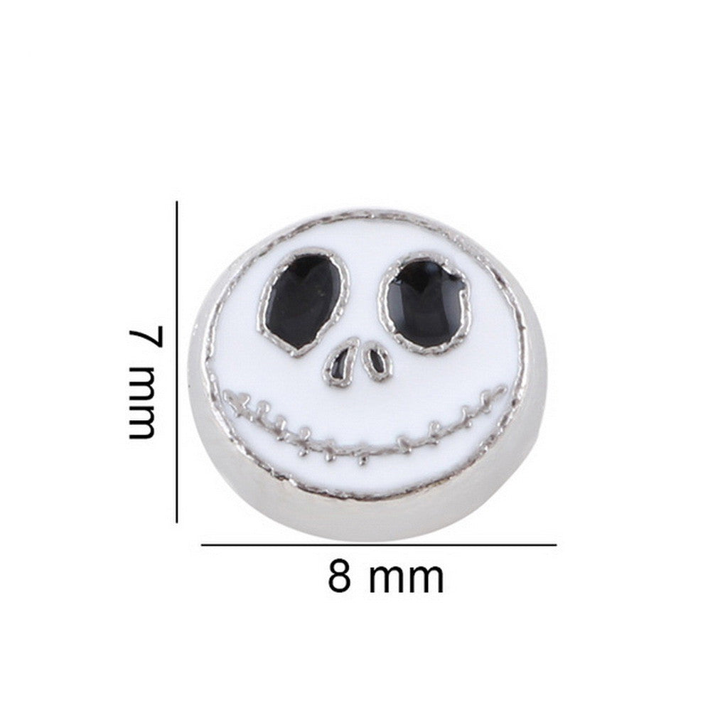 Floating charms Halloween Face  and 5 Birthstones locket Charm Bracelets necklace - Pendants and Charms