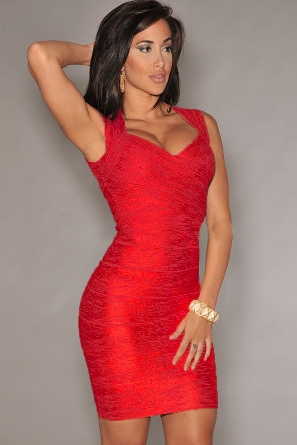 Red Foil Print Bodycon Bandage Dress - Pendants and Charms
