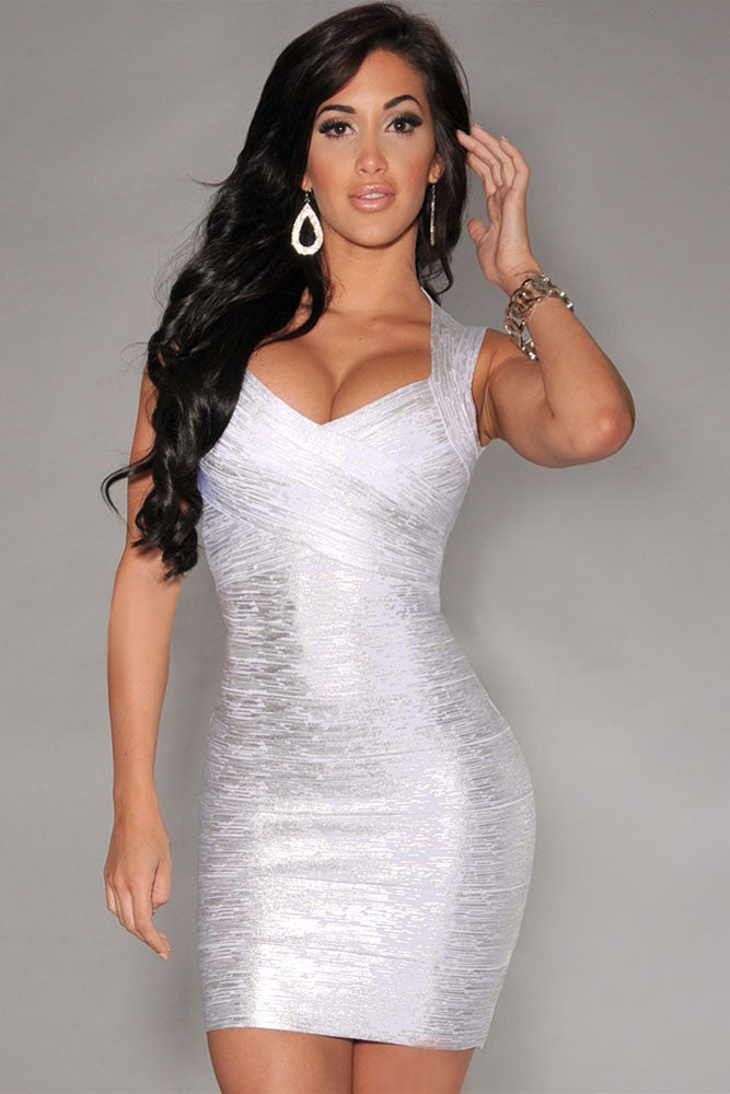 Silver Foil Print Bodycon Bandage Dress - Pendants and Charms