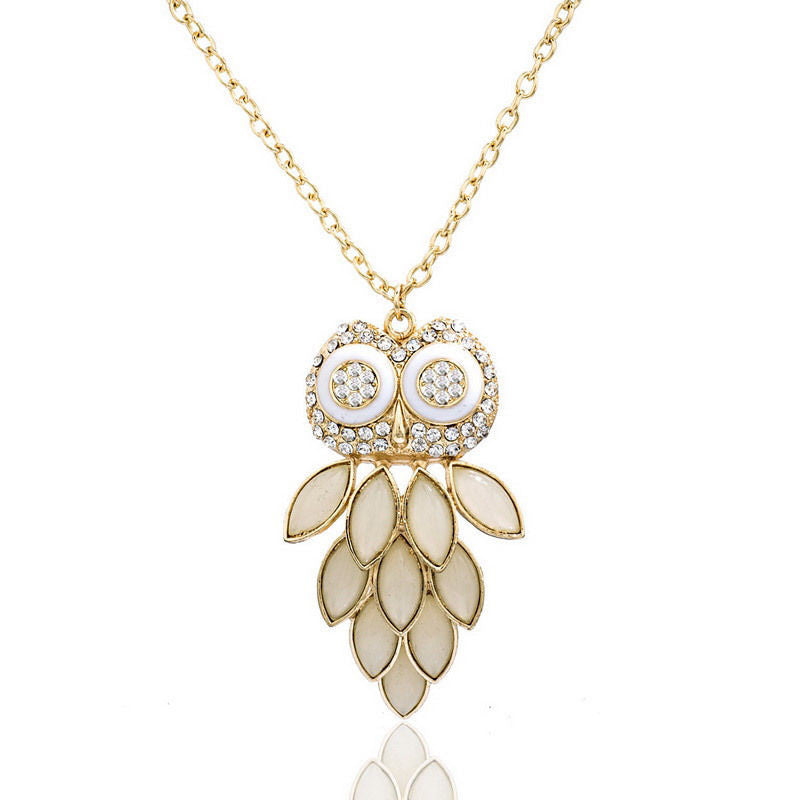 Fashion Gold Plated Owl Pendant Rhinestone Link Chain Necklace - Pendants and Charms