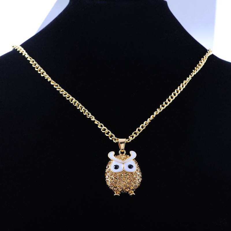 Fashion Gold Plated Owl Pendant Amber Rhinestone Link Chain Necklace - Pendants and Charms