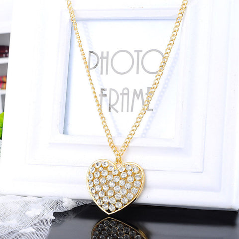 White Rhinestone Heart Short Pendant Necklace - Pendants and Charms