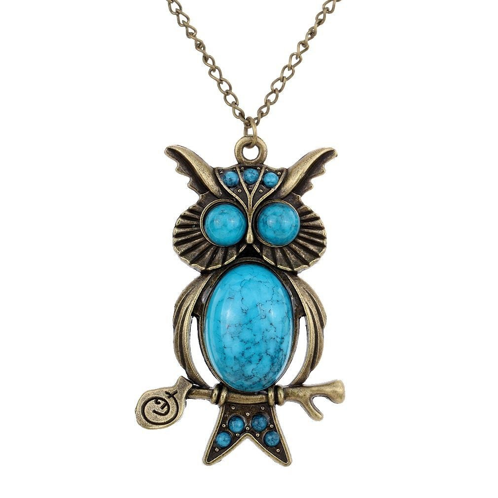 Retro Bronze Blue owl pendant chain Long Pendant Necklace - Pendants and Charms