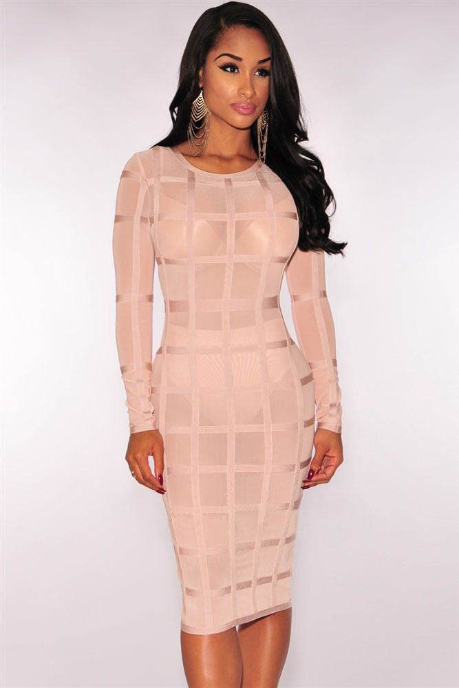 Nude Bandage Caged Panty Lined Mesh Bodycon Bandage Dress - Pendants and Charms