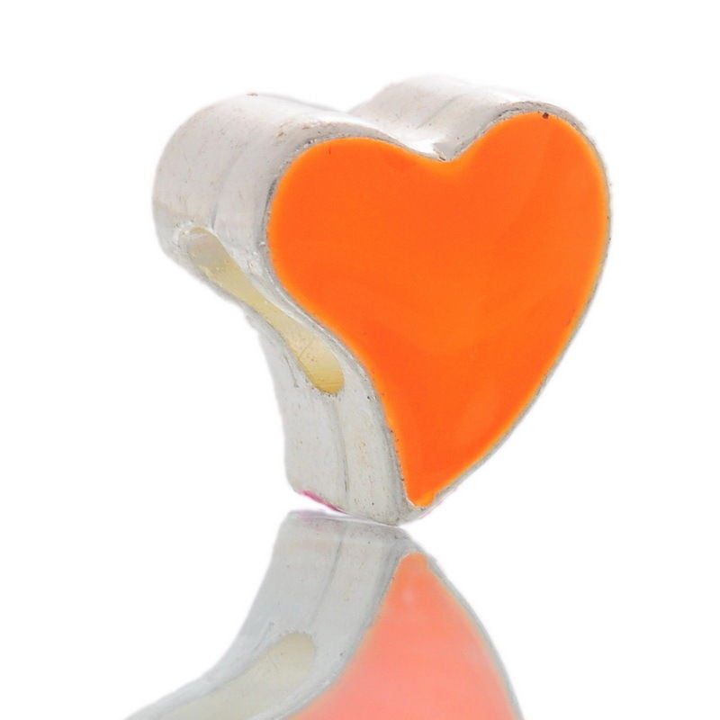 European Charm Beads Love Heart Enamel Orange Silver Plated 12x11mm - Pendants and Charms