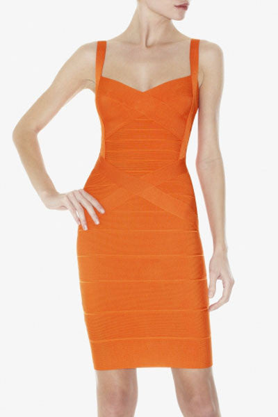 Orange Sleeveless Bodycon Bandage Dress - Pendants and Charms