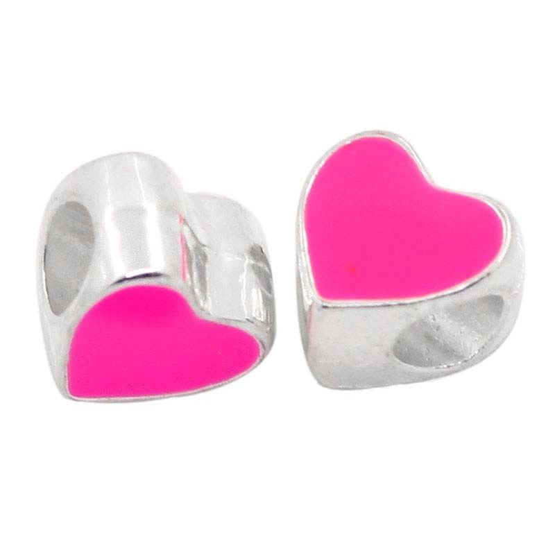 "European Charm Beads Enamel Pink Heart Love Shape Silver Plated 3/8""x3/8"" - Pendants and Charms"