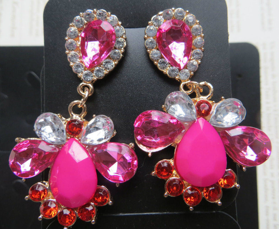 Pink Rhinestone  Long Earrings Shourouk Earrings - Pendants and Charms