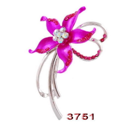 Pink Flower Enamel Rhinestone Crystal Brooch Pin - Pendants and Charms
