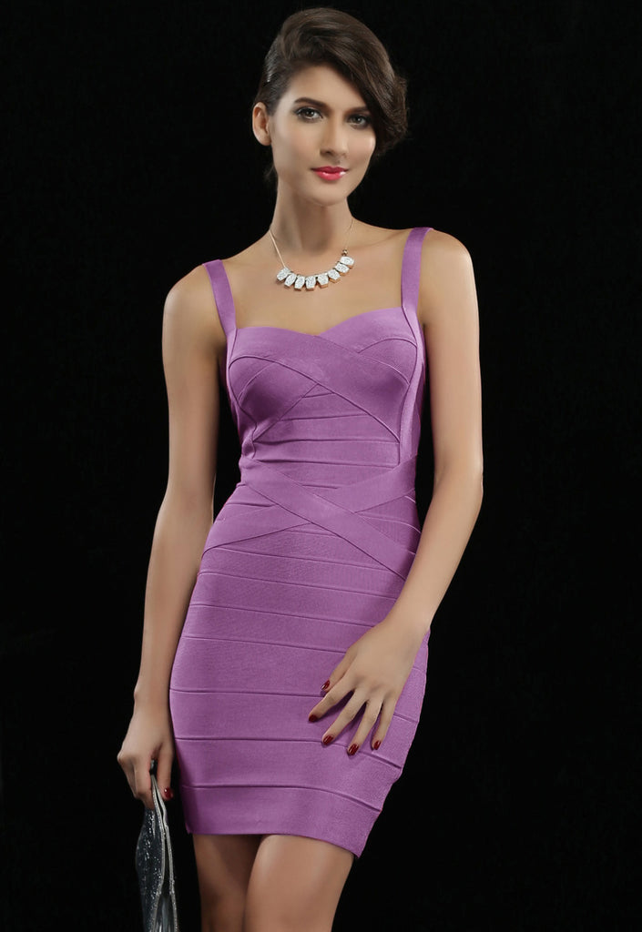 Purple Sleeveless Bodycon Bandage Dress - Pendants and Charms
