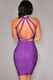 Purple  Sleeveless Plunge Bodycon Bandage Dress - Pendants and Charms