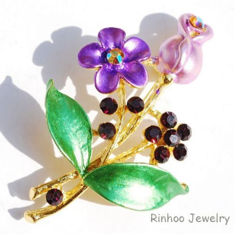 Purple Green Flower  Enamel Rhinestone Crystal Brooch Pin - Pendants and Charms